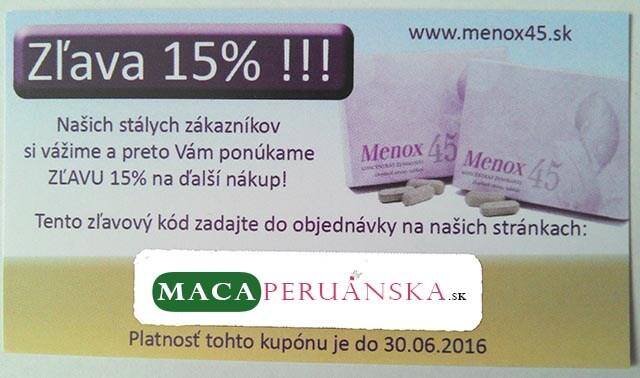 Pri zakúpení Menox 45 získate 15% zľavu na ďalší nákup