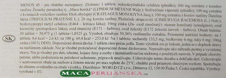 Zloženie doplnku stravy MENOX 45