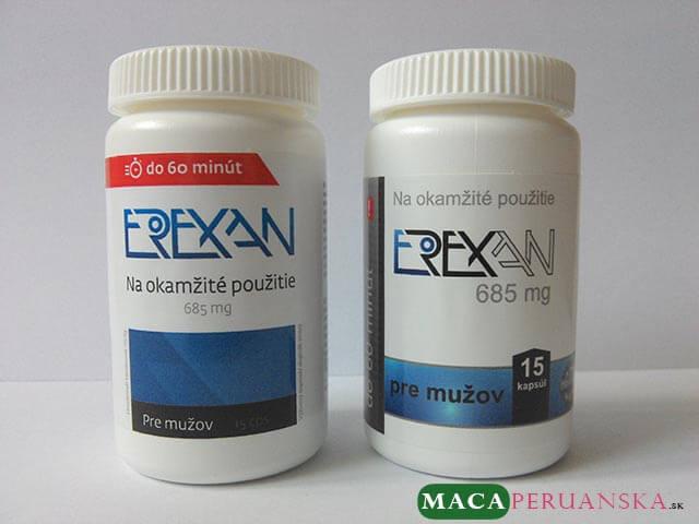Etiketa tabletiek EREXAN prešla nedávno redizajnom. Vľavo je jej nová podoba.