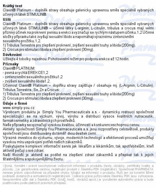 Príbalový leták k tabletkám Clavin ORIGINAL/PLATINUM